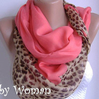 Salmon Pink  Cotton Scarf  Elegant  Scarf