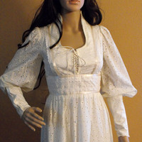 Vintage 70s Gunne Sax Dress Wedding Ivory Prairie Hippie Bridal Eyelet XS