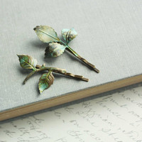 Branch Hair Accessories, Leaf, Verdigris Green, Woodland Wedding, Bobby Pins, Pair of Leaves, Bridal Accessories