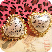 Betsey Johnson Synchronous Retro ''love'' letter earrings #BJ-E102Y