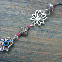 hamsa lotus belly ring PINK lotus flower  evil eye  zen yoga  Moroccan boho  new age gypsy hippie belly dancer beach and hipster style