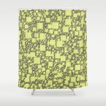 Windy Yellow Squares Shower Curtain by Alice Gosling