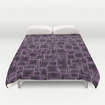 The Maze - Lilac Duvet Cover by Alice Gosling