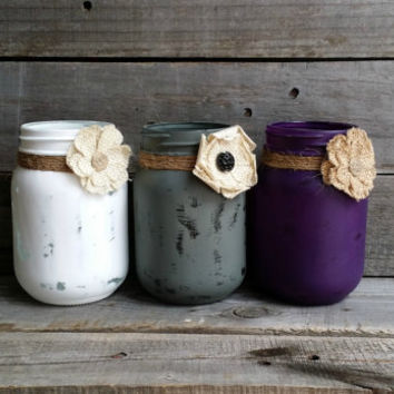 Distressed Grey, Purple and White Pint Size Mason Jars, Rustic Wedding Decor, Shower Favor, Rustic Home Decor, Baby Shower Decor, Set of 3