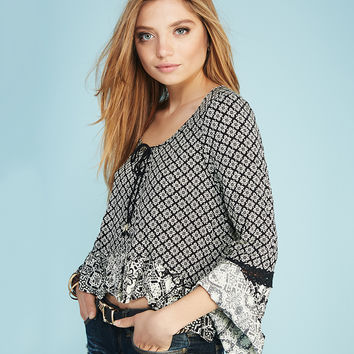 Gypsy Print Peasant Blouse | Wet Seal