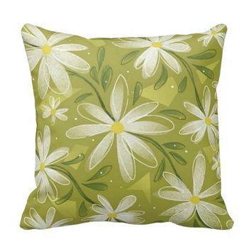 Girly Modern Spring Floral Pattern Throw Pillow