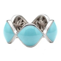Elizabeth Showers Silver and Turquoise Enamel Wide Simone Eternity Ring - Max &amp; Chloe