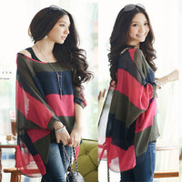 Korean Fashion Womens 2 Pc Loose Striped Tunic Batwing Tops Blouse T Shirt&Vest