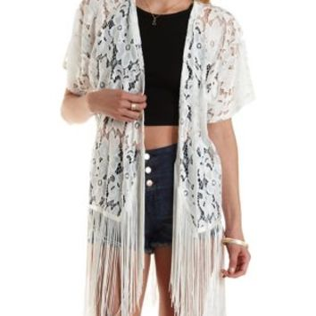 Floral Lace Fringe Kimono by Charlotte Russe - Ivory