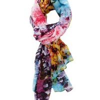 Colorful Floral Print Wrap Scarf by Charlotte Russe - Pink Combo