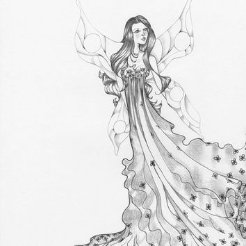 Fairy Art OOAK Pencil Drawing Illustration Faery Pencil Drawing Black and White Grey Wall Art Girls Room Home Decor teamt ohtteam Fine Art