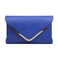 Envelope Shape Leather Clutch by Hallomall