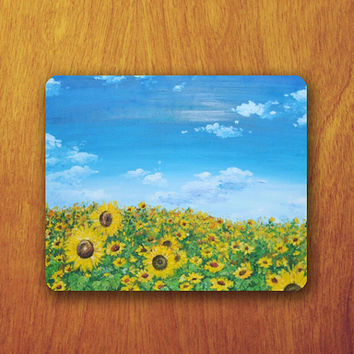 SUN FLOWER Color Oil Painting Mouse PAD River Sky Desk Accessory Deco Mousepad Natural Office Style Personalized for room Teacher Gift