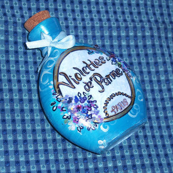 Shabby Chic Blue Floral Perfume Bottle Hand Painted Cottage Chic Home Decor