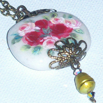 Shabby Chic Rose Pendant Flower Necklace Hand Paint Ceramic Victorian Rose Necklace