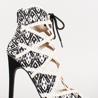 Qupid Tribal Caged Lace Up Open Toe Stiletto Bootie