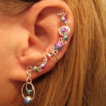 "Non Pierced Cartilage Cuff ""Galaxy"" Stardust Beads Ear Cuff Color Choices"
