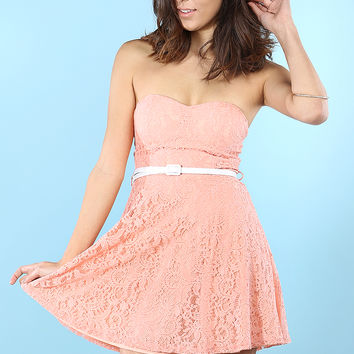 Belted Flower Lace Tube Dress