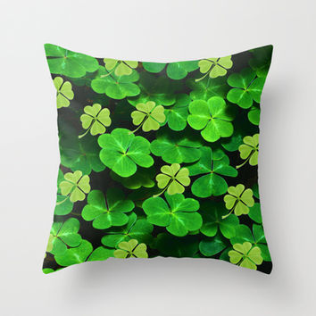 Four Leaf Clover Throw Pillow by Erika Kaisersot