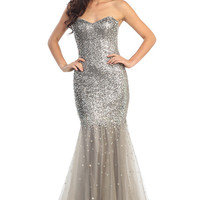 Trumpet Mermaid Silver Showers Gown