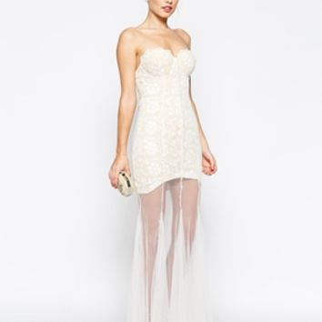 Jarlo Petite Sydney Bandeau Lace Dress With Sheer Skirt
