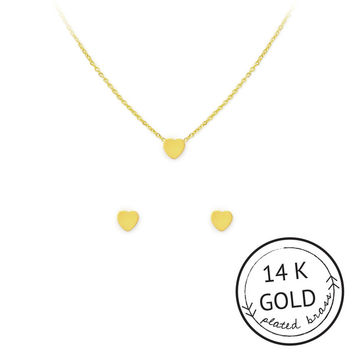 I Luv Me Necklace and Earring Set by Kitsch {Gold}