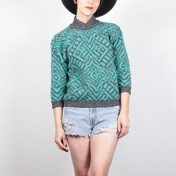 Vintage 80s Sweater Teal Green Gray Abstract Print Knit Jumper Wool Sweater Shetland Wool Jumper Benetton Sweater Hipster Cosby Sweater S