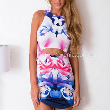 PRE ORDER - Purple Flower Fusion Dress (Expected Delivery 3rd April, 2 | Xenia Boutique