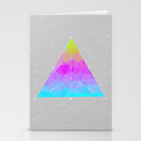 The Dots Will Somehow Connect (Geometric Pyramid) Stationery Cards by Soaring Anchor Designs