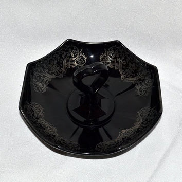 Imperial Octagon Black Depression Glass Tidbit Serving Dish with Sterling Silver Overlay and Heart Handle