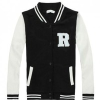 Womens Letter R Varsity Letterman Jackets Black