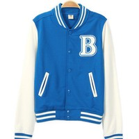 Womens Varsity Letter B Baseball Letterman Jacket Blue