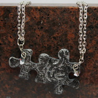 Puzzle Piece Necklace Set Polymer Clay Silver Black Swirl Swarovski Crystals Set of Two Set 7