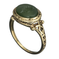 1930&#x27;s 14K Gold with Intaglio Warrior Head Ring::Antique Jewelry::Jewelry::Alexis Bittar