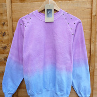 Pink and Blue Dip Tie Dye Studded Sweater Shirt Summmer Pastels Fashion Jumper Spike Shoulders Oversize Vintage