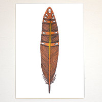 Feather Art Painting - Watercolor Tribal - Archival Print - 8x10 Papaya Feather