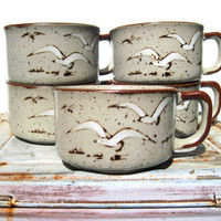 Seagull mugs beach decor