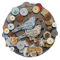 CIRCULAR SONGBIRDS FOUND OBJECT WALL ART