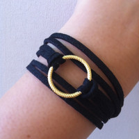 Leather bracelet, gold circle bracelet