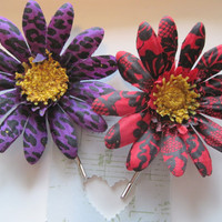 Gerber Daisy Bobby Pins, Red and Purple Bobby Pins