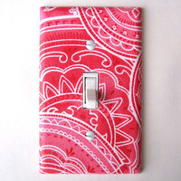 Bandana In Coral Single Toggle Switchplate Switch Plate