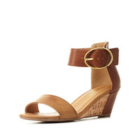 City Classified Color Block Low Wedge Sandals - Tan