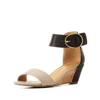 City Classified Color Block Low Wedge Sandals - Black Combo