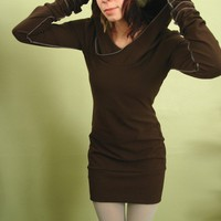 extra long sleeved hooded tunic dress CHOCOLATE by joclothing