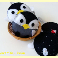 Cute round Felt penguin ornament by hingmade on Etsy