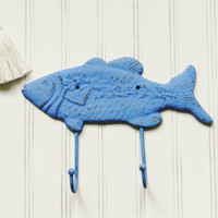 Cast Iron Fish Hook, Blue Wall Hook, Cast Iron Hooks, Cast Iron Wall Hooks, Wall Hooks, Beach Decor, Beach House Decor, Fishing Decor