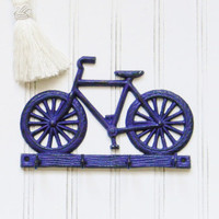 Bicycle Wall Hook, Purple Wall Hook, Bike Wall Hook, Key Rack, Cast Iron Key Rack, Bike Lovers, Kid's Decor, Key Hook, Key Hook Rail