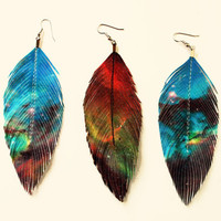 Intergalactic Rockstar - Galaxy Faux Leather Feather Earrings