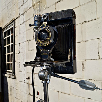 Antique Eastman Kodak Camera No. 2C Folding Autographic Brownie Camera Lamp Light Vintage Vivo Tilt Tripod