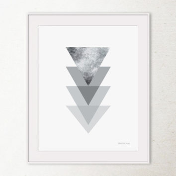 Silver grey wall art, Grey triangles print, Silver decor Wall print, Modern office decor, Printable wall art print, Modern geometric art